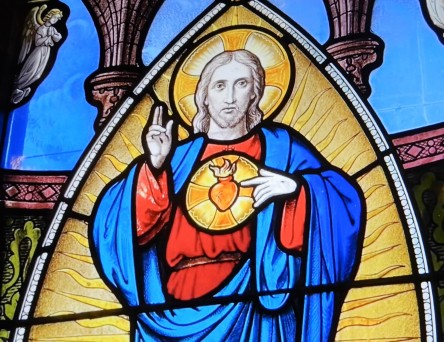 Sacred Heart of Jesus stained-glass window
