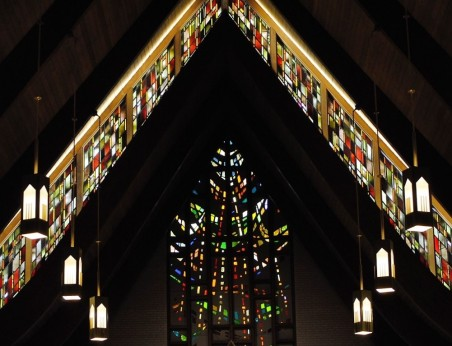 Stained-glass window above the altar - St. Mary's Visitation Church - Elm Grove, WI